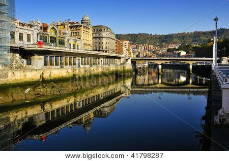 A view of the Estuary of Bilbao and Arenal Bridge, in Bilbao, Spain