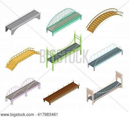 Fixed Bridges Made Of Wood Or Metal With Beam And Arch Bridge Isometric Vector Set