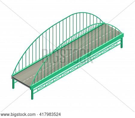Fixed Bridge With Metal Arch And Tie Rod Oated With Asphalt Isometric Vector Illustration