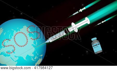 A Caricature Of The Covid Vaccine Plunges Into The World With Sos Messages.