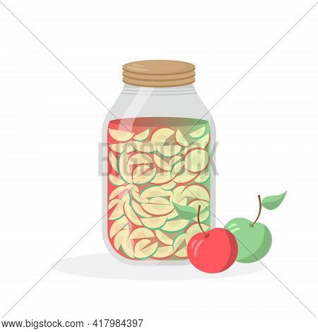 Glass Jar Of Preserved Apples. Beautiful Bank With Your Favorite Delicacy. Red And Green Apples. Vec