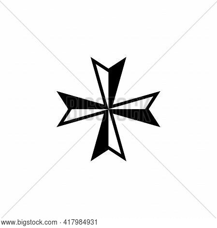 Maltese Cross Icon Isolated On White Background. Vector Illustration