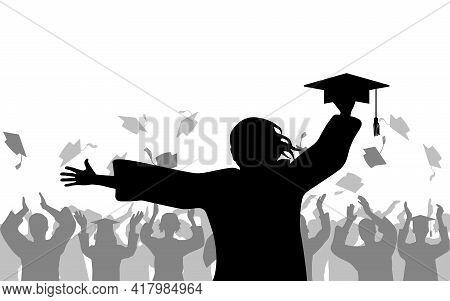 Cheerful Girl Graduate Holding Mortarboard On Background Of Joyful Crowd Of People Throwing Academic