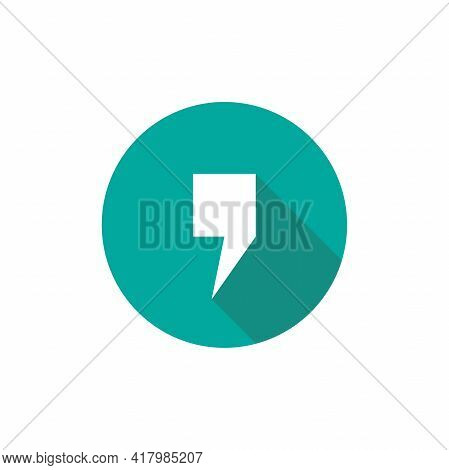 Comma Mark In Blue Circle With Shadow Isolated On White. Flat Reading Icon. Vector Illustration. Quo
