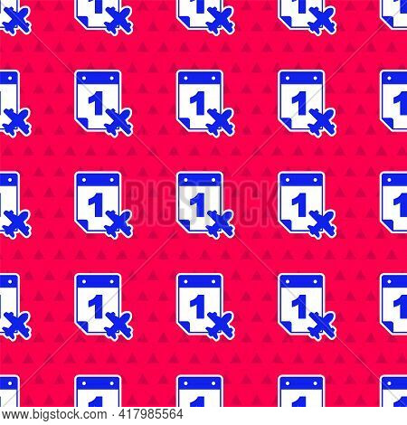 Blue Travel Planning Calendar And Airplane Icon Isolated Seamless Pattern On Red Background. A Plann