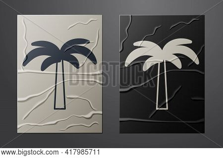 White Tropical Palm Tree Icon Isolated On Crumpled Paper Background. Coconut Palm Tree. Paper Art St
