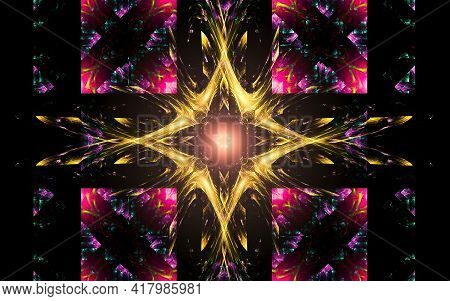 Illustration Abstract Image Of A Yellow Star With Four Rays Of A Bright Flash In The Center Framed B