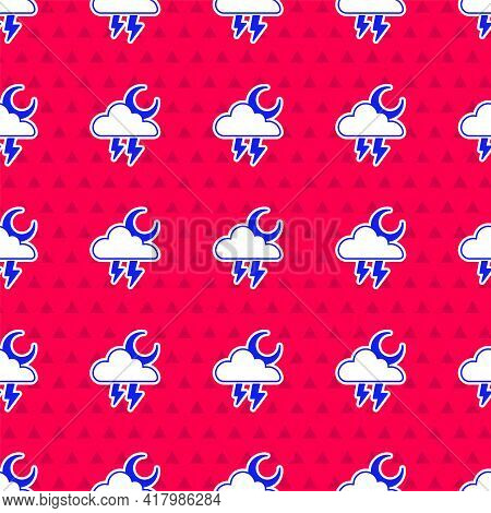 Blue Storm Icon Isolated Seamless Pattern On Red Background. Cloud With Lightning And Moon Sign. Wea
