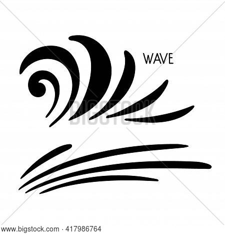 Ocean Waves Silhouette Sketch. Surge, Ripple, Wavelet In Nature. Surfing Travel And Vacation Vector
