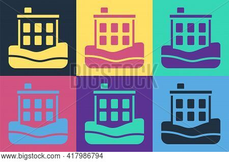 Pop Art House Flood Icon Isolated On Color Background. Home Flooding Under Water. Insurance Concept.