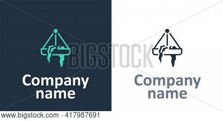 Logotype Plant In Hanging Pot Icon Isolated On White Background. Decorative Macrame Handmade Hangers