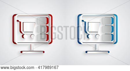 Paper Cut Shopping Cart On Screen Computer Icon Isolated On Grey Background. Concept E-commerce, E-b