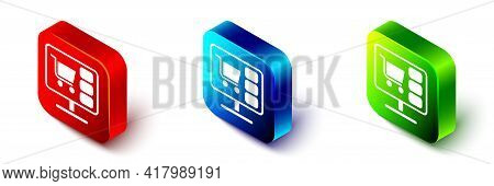 Isometric Shopping Cart On Screen Computer Icon Isolated On White Background. Concept E-commerce, E-