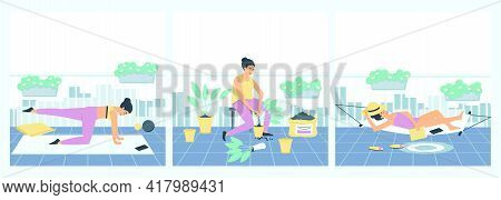 Set Of Female Activities On The Balcony. A Woman Is Engaged In Fitness, Plants Flowers, Rests In A H