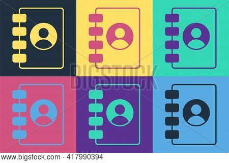 Pop Art Address Book Icon Isolated On Color Background. Notebook, Address, Contact, Directory, Phone