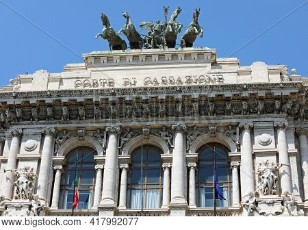 Rome, Rm, Italy - August 16, 2020: Palace Of Justice And The Big Text That Means Supreme Court Of Ca