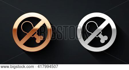Gold And Silver No Meat Icon Isolated Gold And Silver Background. No Fast Food Allowed - Vegetarian