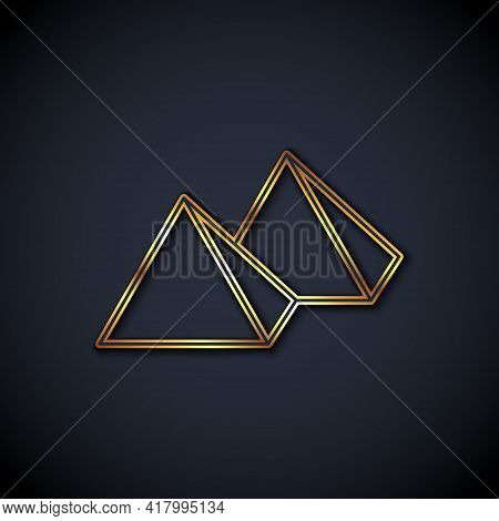 Gold Line Egypt Pyramids Icon Isolated On Black Background. Symbol Of Ancient Egypt. Vector