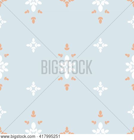 Vector Abstract Symmetrical Floral Details Design On Pastel Blue Seamless Pattern Background. Perfec