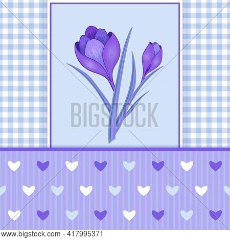 Vector Illustration With Crocus Or Saffron And Hearts.an Elegant Bouquet Of Purple Flowers. Can Be U