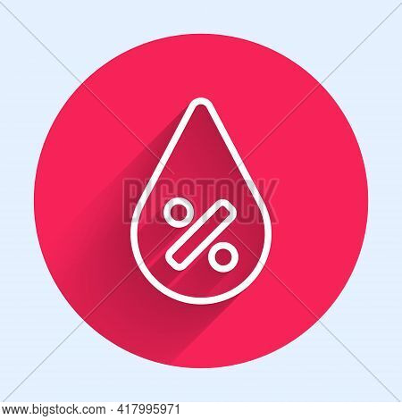 White Line Water Drop Percentage Icon Isolated With Long Shadow. Humidity Analysis. Red Circle Butto