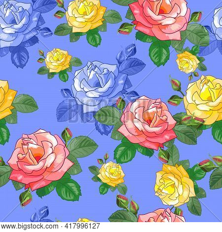 Bouquet. Beautiful Seamless Pattern With Pink,yellow Roses On A Blue Background. Vector Illustration