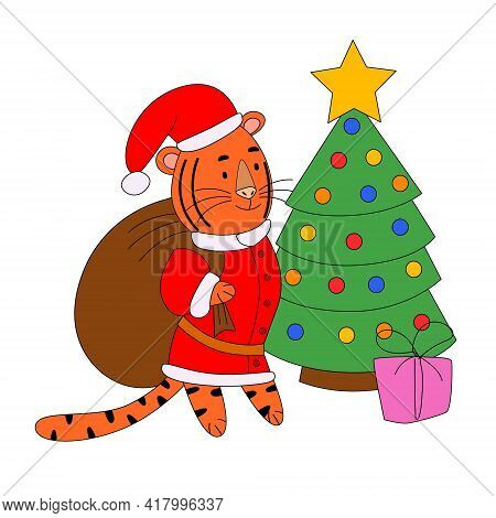Tiger-santa Claus With A Bag Of Gifts At The Christmas Tree, A Cute Animal.