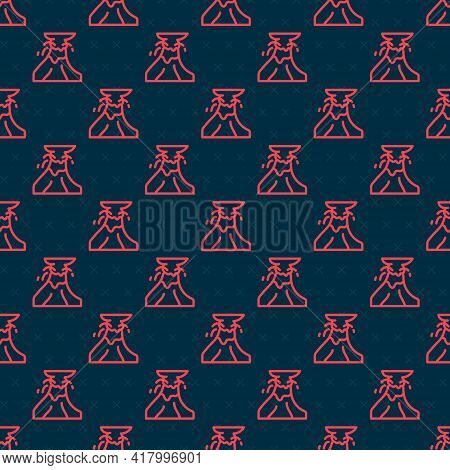 Red Line Volcano Eruption With Lava Icon Isolated Seamless Pattern On Black Background. Vector