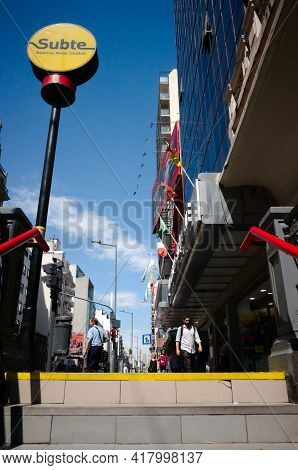 Buenos Aires, Argentina - January, 2020: Exit From Underground Metro Station To The City Street In D