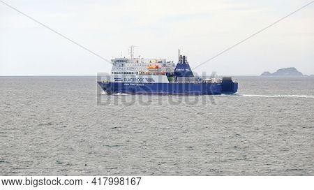 Cook Strait, New Zealand - February 22, 2020: Bluebridge Cook Strait Ferries, New Zealand ferry from north to south island.