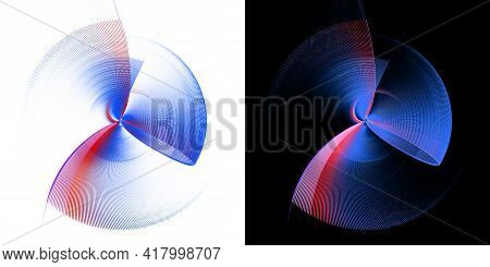 Abstract Blue, Transparent Propeller With Red Stripes Rotates On White And Black Backgrounds. Graphi