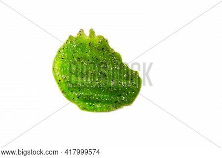 Skin Scrub Smear On Isolated Background. Cosmetic Anti-cellulite Product With Green Clay, Cane Sugar