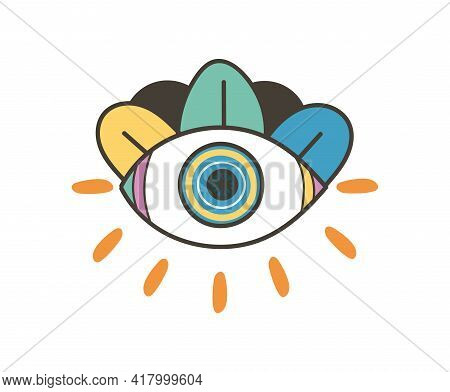 Colorful Eye Talisman As An Occultism And Prophecy Sacred Symbol. Eye Of Providence, Mysterious Tali