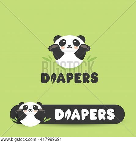 Funny Panda In Diapers, Flat Cartoon Style Vector Logo Concept. Chinese Bear Have Fun Isolated Icon.