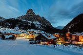 Ski Resort of Corvara at Night Alta Badia Dolomites Alps Italy poster