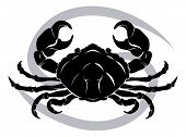 Illustration of Cancer the crab zodiac horoscope astrology sign poster