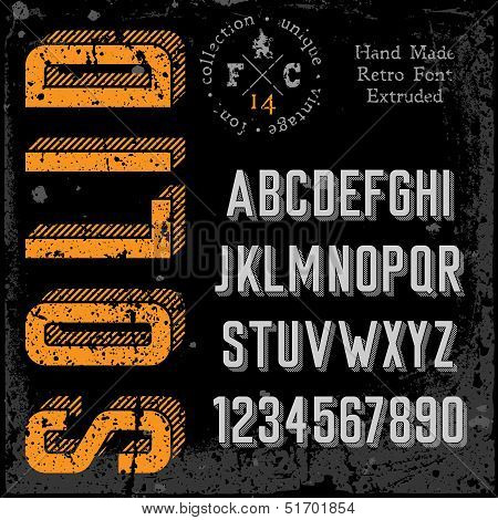 Handmade retro font. 3d extruded type. Grunge textures placed in separate layers. Vector illustration. poster