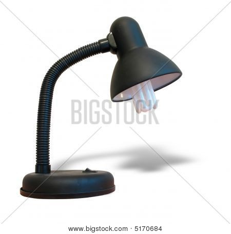 Black Desk Lamp With Shadow Over White Background