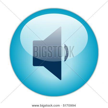 Glassy Blue Decrease Volume Icon