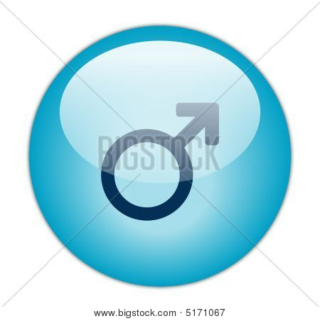 Glassy Blue Male Icon