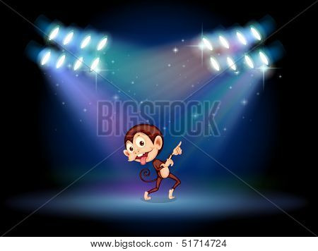 Illustration of a playful monkey dancing in the middle of the stage