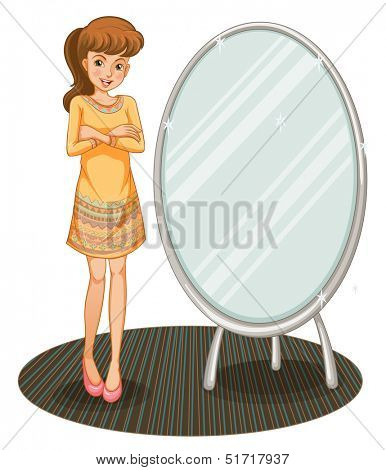 Illustration of a pretty girl beside a mirror