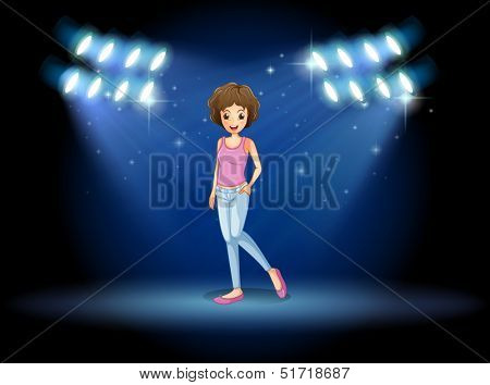 Illustration of a girl performing in the middle of the stage