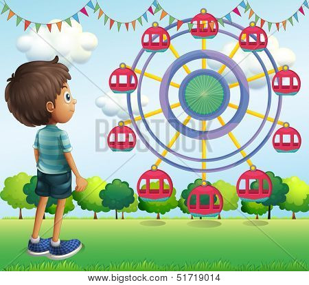 Illustration of a boy watching the ferris wheels