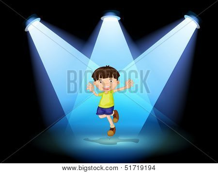 Illustration of a cute little boy dancing in the stage