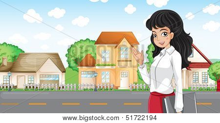 Illustration of a lady with a formal attire standing across the neighborhood