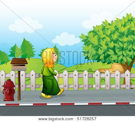 Illustration of an old woman walking at the streetside with a mailbox