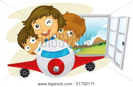 Illustration of the happy children riding on a jetplane on a white background