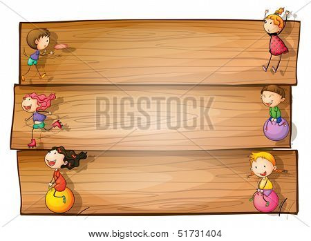 Illustration of a wooden signage with kids playing on a white background