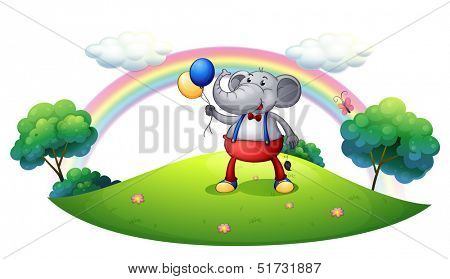 Illustration of an elephant with balloons at the hilltop on a white background poster